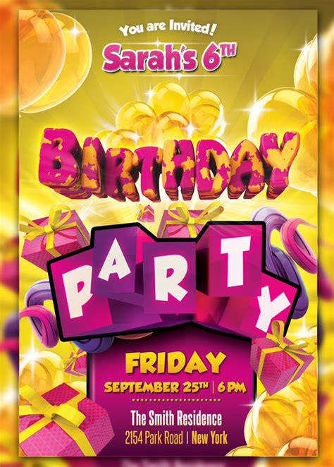 design birthday flyer kid birthday party flyer by cleanstroke on deviantart