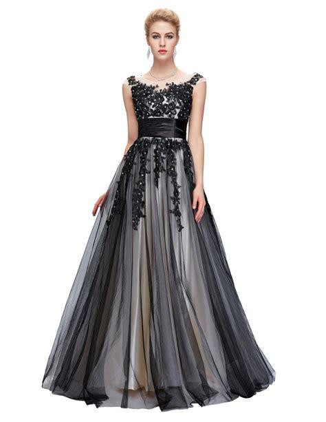 The Evening Black Dress 1 grace karin black evening dress 2016 applique of the dresses