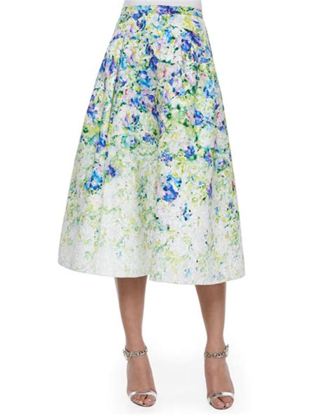 phoebe couture floral print a line midi skirt
