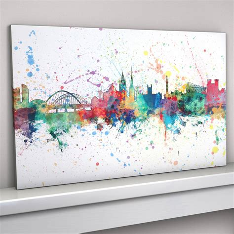 Leinwand Selbst Bemalen Ideen by Newcastle Skyline Cityscape Paint Splashes Print By