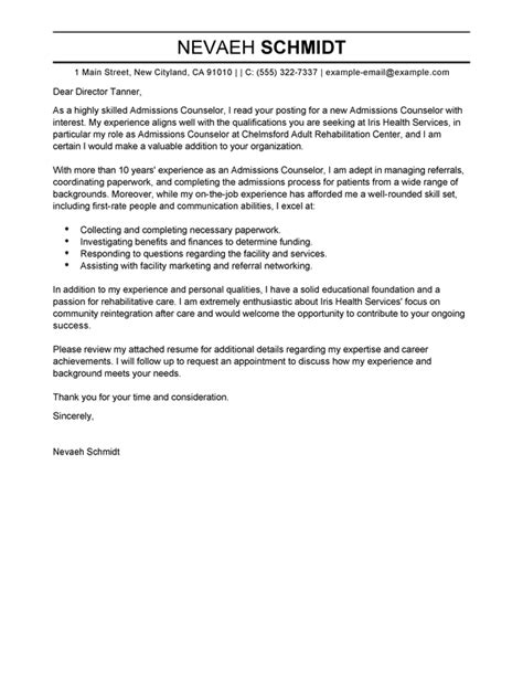 cover letter for admissions counselor best admissions counselor cover letter exles livecareer