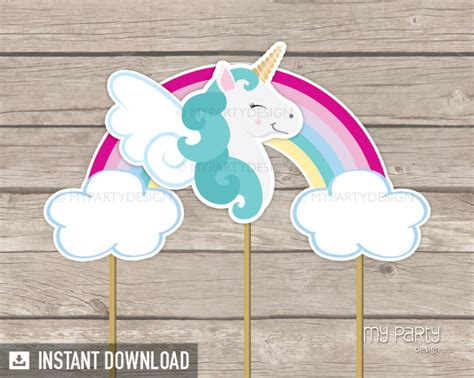 printable unicorn cake toppers unicorn party printable cake topper my party design
