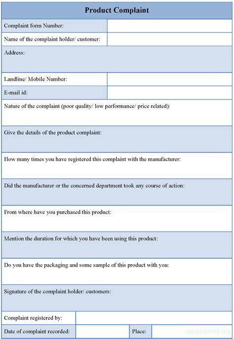 product complaint form sle product complaint form