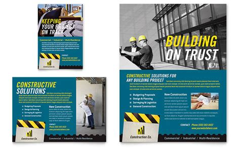 Construction Flyer Templates industrial commercial construction flyer ad template