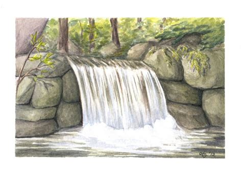 watercolor waterfall tutorial watercolor paintings of waterfalls www imgkid com the