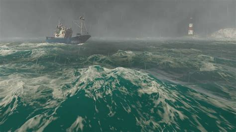 fishing boat in storm video lightning storm with heavy rain in the open sea with small