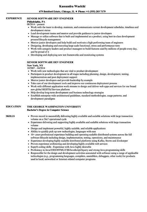 senior software developer resume format senior software dev engineer resume sles velvet