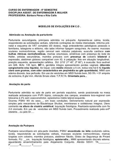 Exemplo De Evolução De Enfermagem Pos Parto - Vários Exemplos