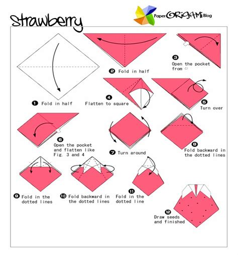 Origami Fruit - fruits and vegetable origami strawberry paper origami guide