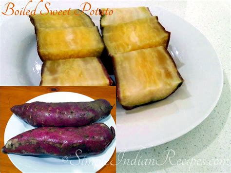 boiled white skin purple flesh sweet potatoes simple indian recipes