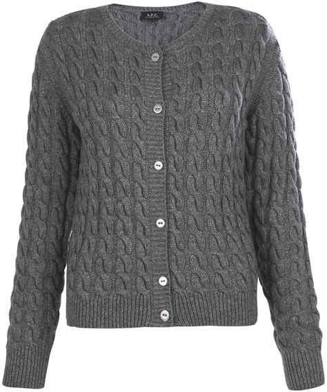 cable knit cardigans a p c grey cable knit cardigan in gray grey lyst