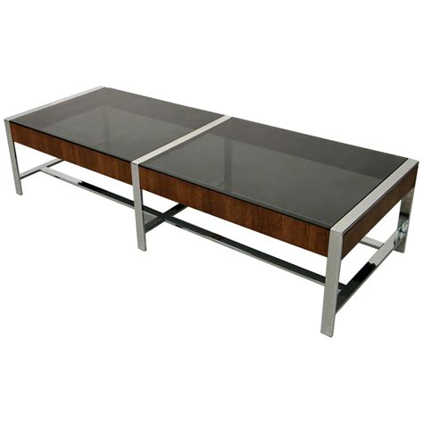 mid century modern chrome and smoked glass coffee table at