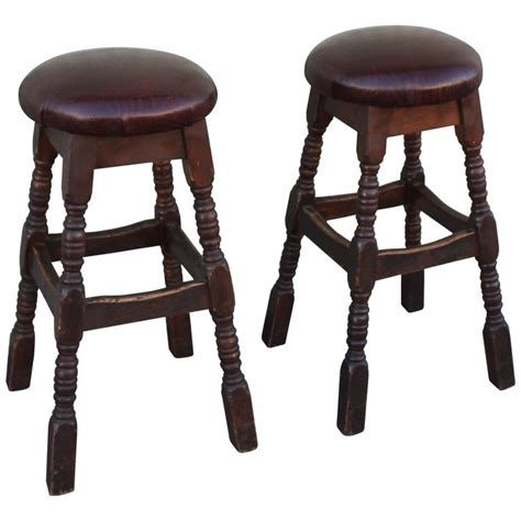 Maple Bar Stools With Leather Seats by Pair Of Bar Stools With For Alligator Leather Seats At 1stdibs