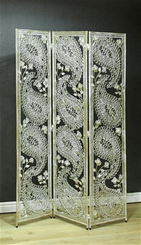 White Paisley Metal Room Divider Screen Room Dividers Uk Metal Room Divider