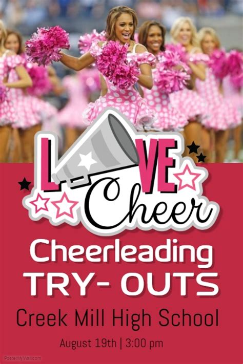 Cheerleading Try Outs Template Postermywall Free Cheerleading Tryout Flyer Template
