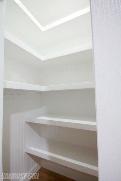 Hall closet with floating shelves sawdust girl 174
