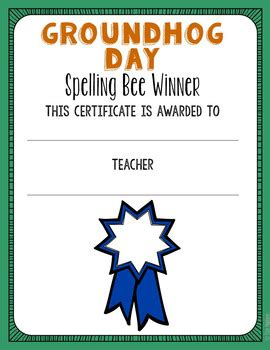 groundhog day awards groundhog day spelling list class award and