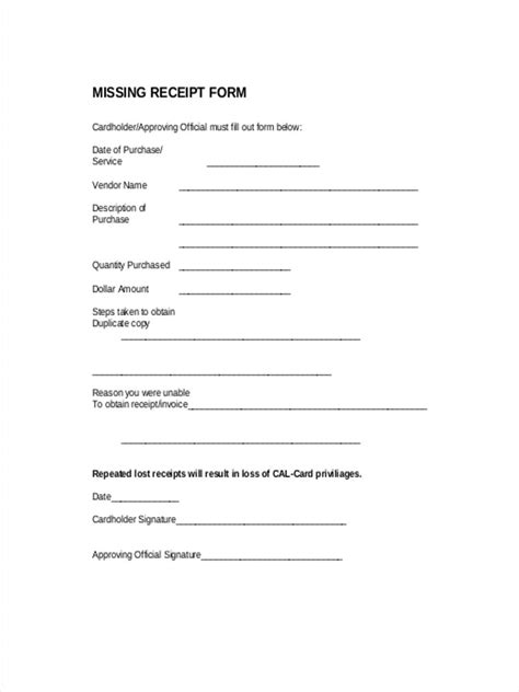 missing receipt form template missing receipt form christopherbathum co