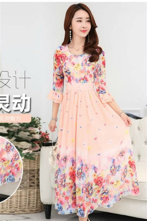 Jes Sb0366 Longdress Maxi Dress Import Korea Gaun Pesta Wanita dress chiffon baju korea asli dress cantik korea