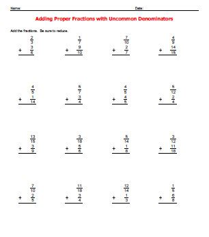 adding fractions with unlike denominators worksheets adding fractions with different denominators worksheets