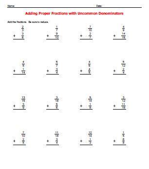 adding fractions with unlike denominators worksheet adding fractions with different denominators worksheets