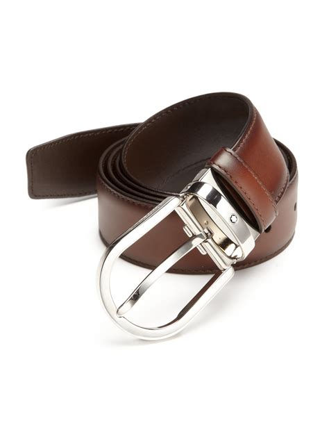 montblanc horseshoe pin leather belt in brown for lyst
