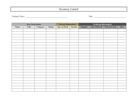 customizable business inventory list template sles