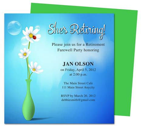 pin free retirement party invitation wording template and