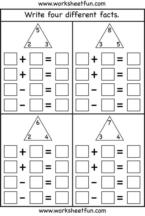 fact family  worksheets fact families math