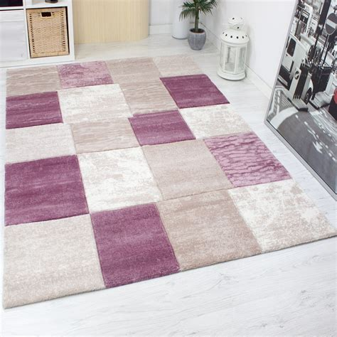 teppich kariert designer teppich kariert meliert in rosa pink sehr dicht