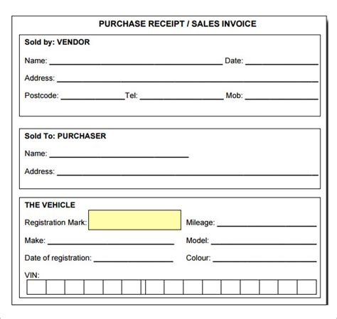 printable blank receipt templates sle receipt template 7 free for pdf