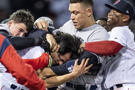 yankees red sox benches clear pedro chipper and fans react to yankees red sox brawl
