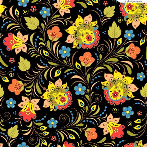 colorful designer 4 designer colorful hand painted floral design vector material