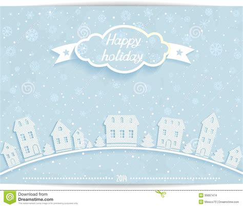 happy holiday card  white paper town stock images image