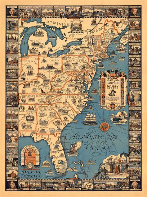 united states history map historical pictorial map of the eastern united states
