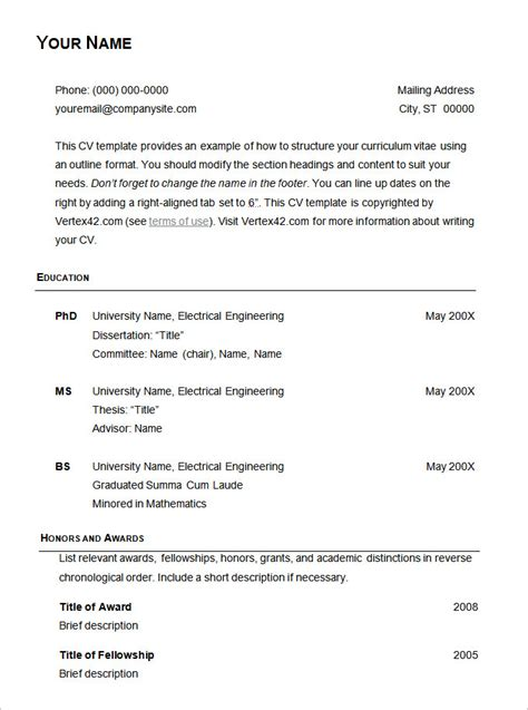Simple Resume Template Open Office by Open Office Resume Template Basic Resume Templates