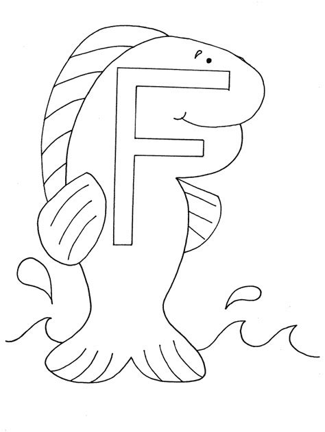 F Fish Coloring Page by F Fish Alphabet Coloring Pages Coloring Book