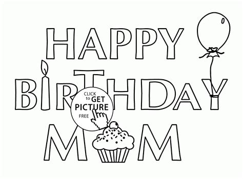 printable happy birthday mother cards card for birthday mom coloring page for kids holiday