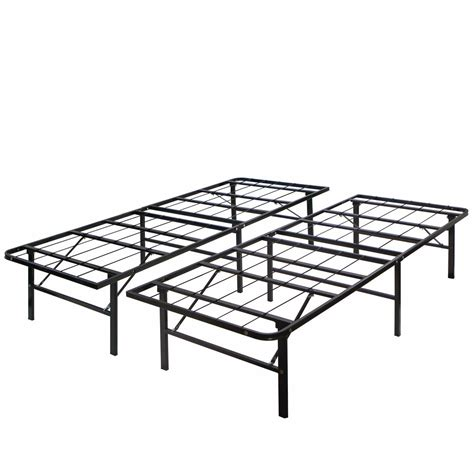 Folding Bed Frame Modern King Size Bi Fold Folding Platform Metal Bed Frame Mattress Foundation Ebay
