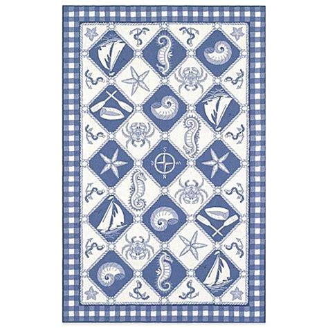 nautical bathroom rugs kas colonial nautical panel indoor rug in blue ivory bed