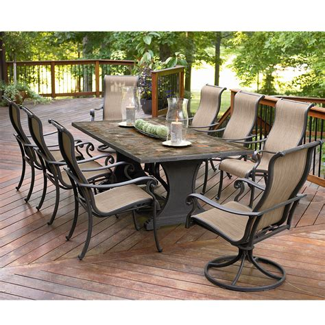 Agio International Panorama 9 Pc Patio Dining Set Shop Outside Patio Dining Sets