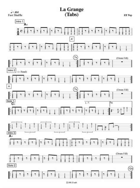 Tablature La Grange by Partition Guitare Zz Top La Grange