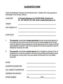 Rent Guarantor Letter Uk 9 Guarantor Agreement Form Sles Free Sle Exle Format