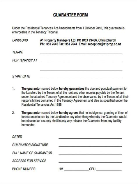 rent guarantor form template 9 guarantor agreement form sles free sle exle