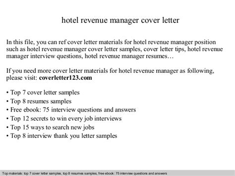 Revenue Officer Cover Letter by Hotel Revenue Manager Cover Letter