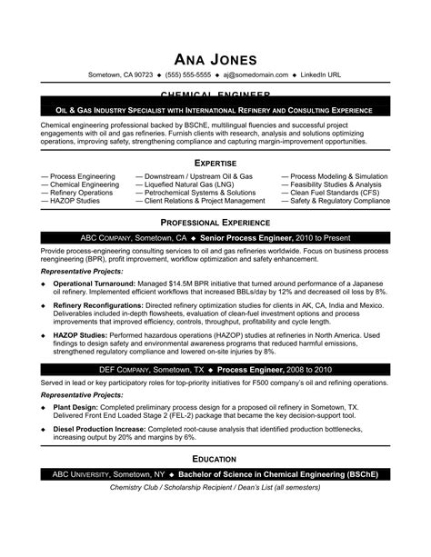 chemical engineering resume format sle resume for entry level chemical engineer