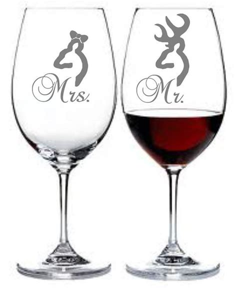 Etched Wine Glasses Etched Wine Glass Set Of 2 Mrs Mr W Deer Buck By