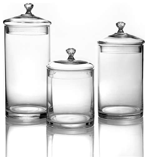 Glass Kitchen Canister Glass Canisters With Silver Knobs Small Set Of 3