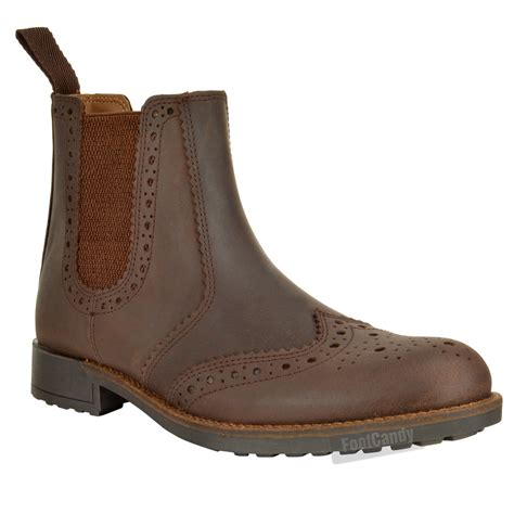 mens slip on leather brogue chelsea dealer office formal