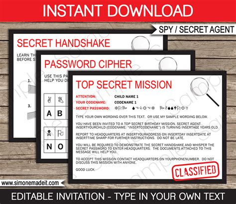 Secret Agent Birthday Party Invitations Spy Party Ideas Free Bond Invitation Template